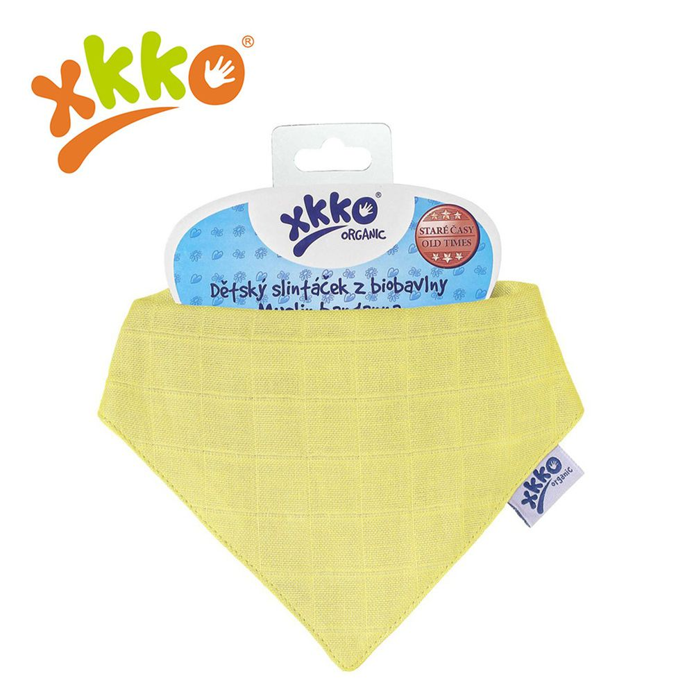 XKKO - 有機棉紗布口水巾-黃色