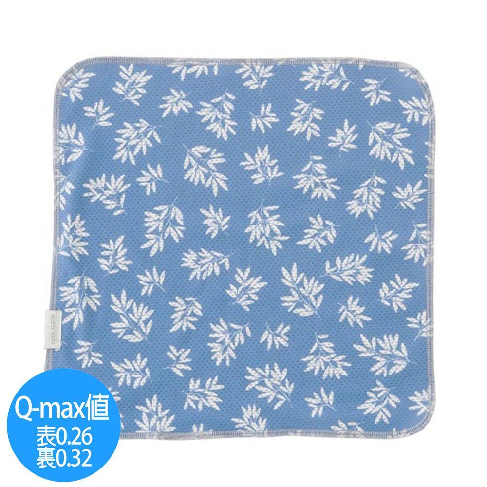 日本小泉 - UV cut 90% 接觸冷感 水涼感手帕-清新樹葉-深藍 (23x23cm)
