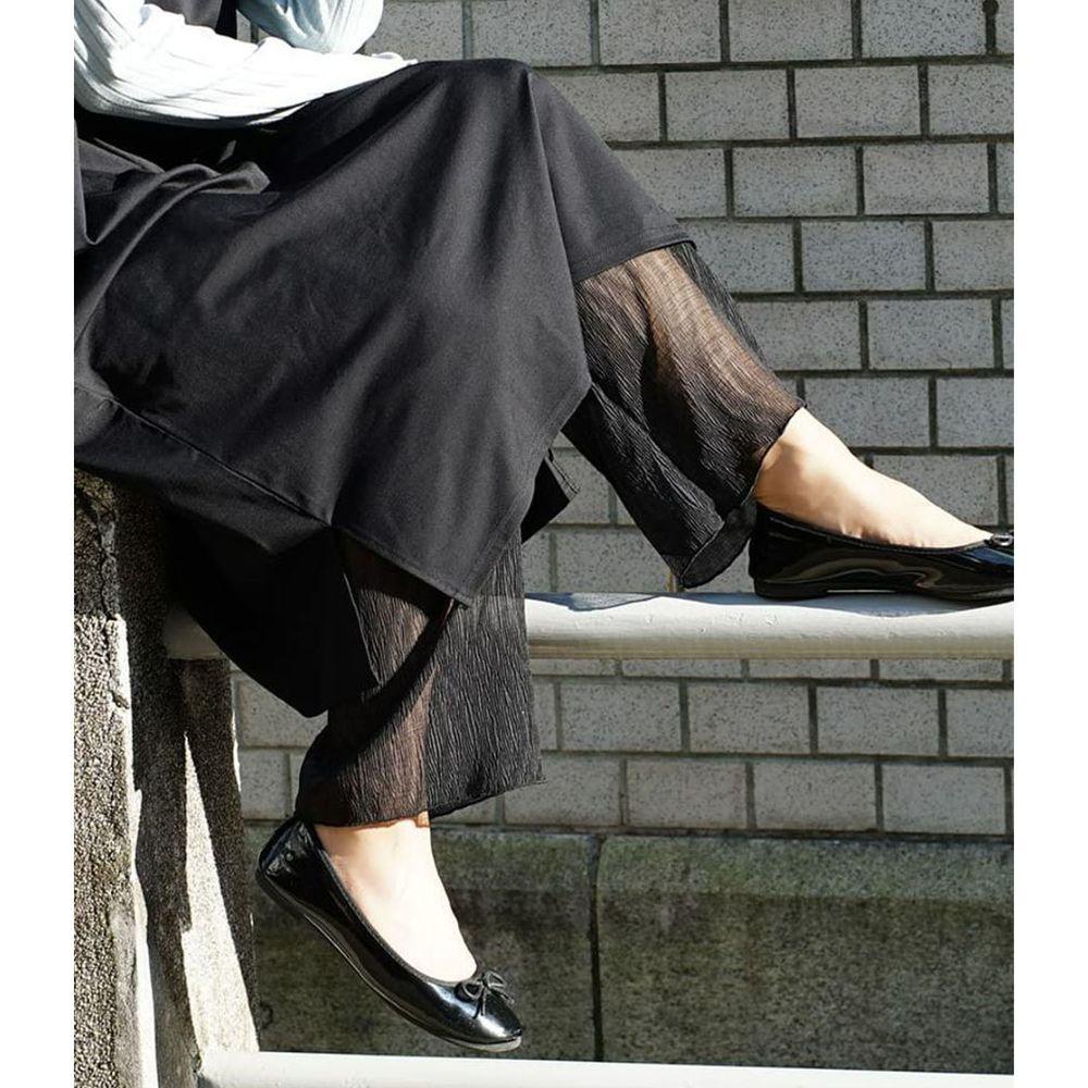 日本 zootie - 時尚透膚層次感穿搭內搭寬版長褲-木耳抓皺-黑