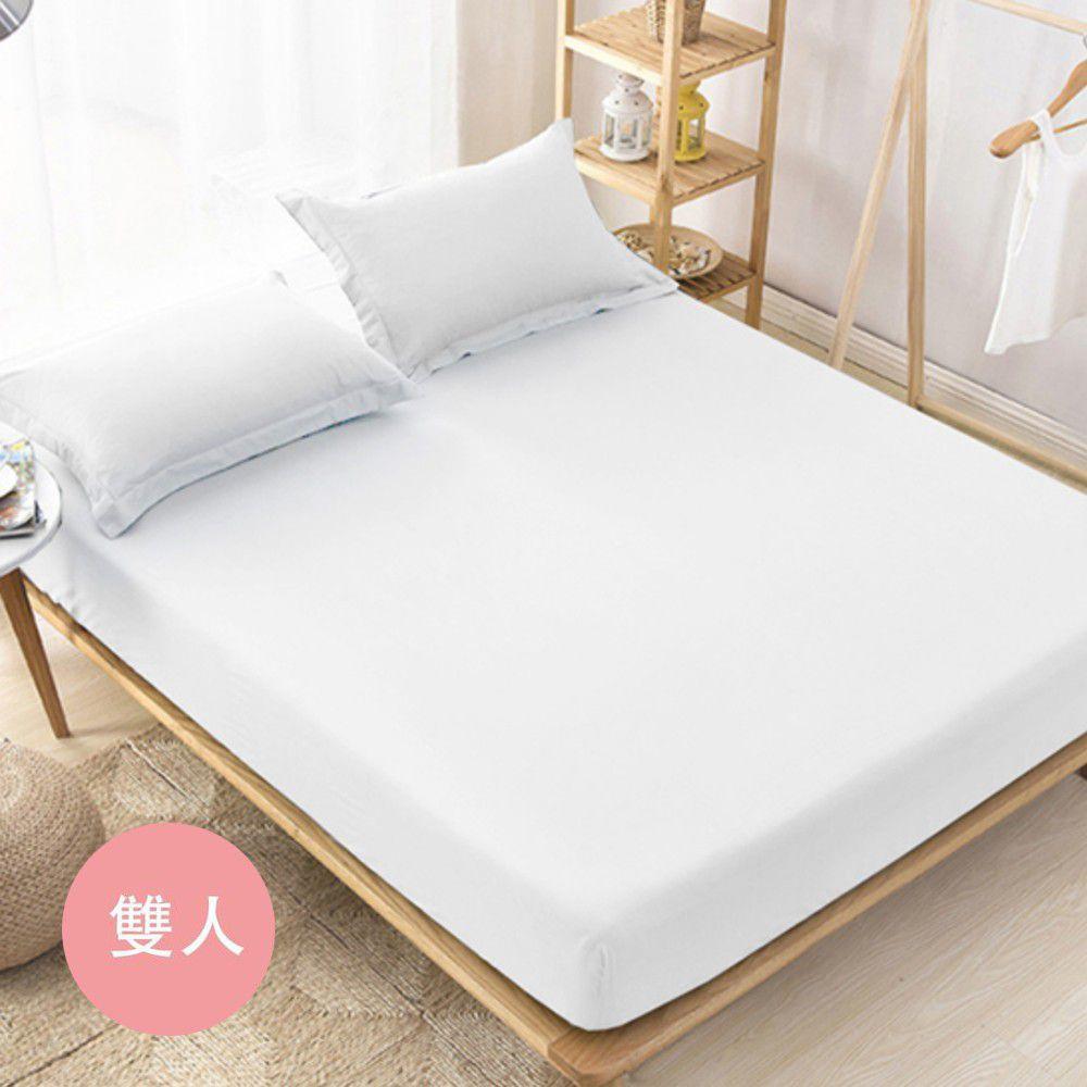 澳洲 Simple Living - 600織台灣製天絲床包枕套組-優雅白-雙人