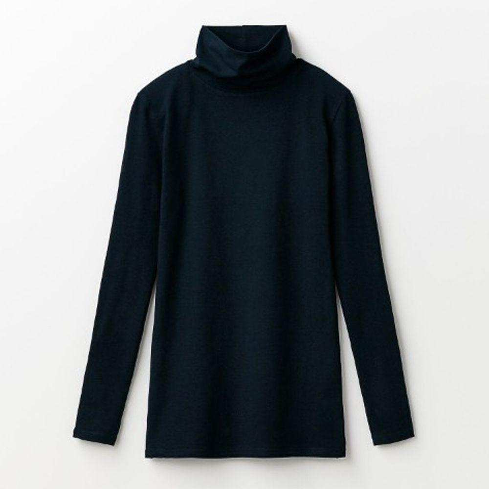 日本千趣會 - 95%棉 (媽媽)高領十分袖發熱衣-黑