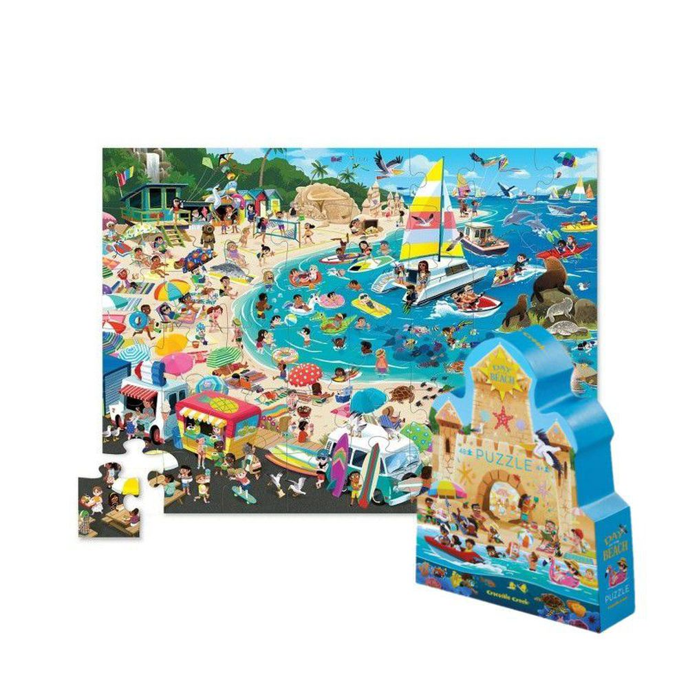 Crocodile Creek - 博物館造型盒學習拼圖48片-海灘樂園