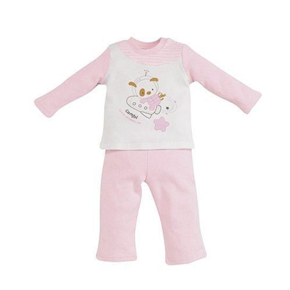 日本 Combi - 肩部圓弧剪接套裝(純棉)-太空冒險-粉色