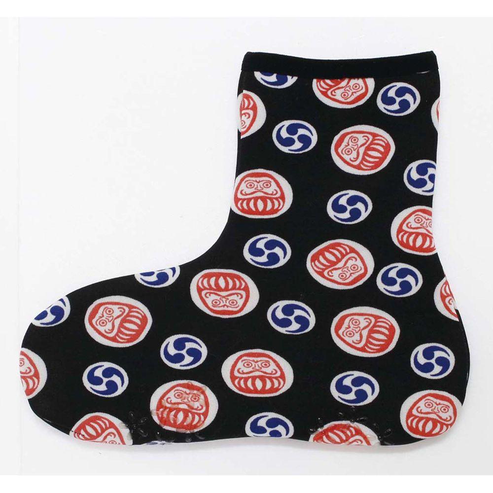 日本丸和 - 雙層機能裏起毛防滑室內襪-達摩-黑 (21-25cm)-短筒
