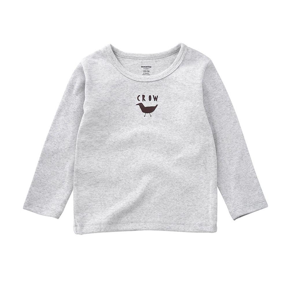 Minizone - 可愛動物長袖T恤-淺灰色
