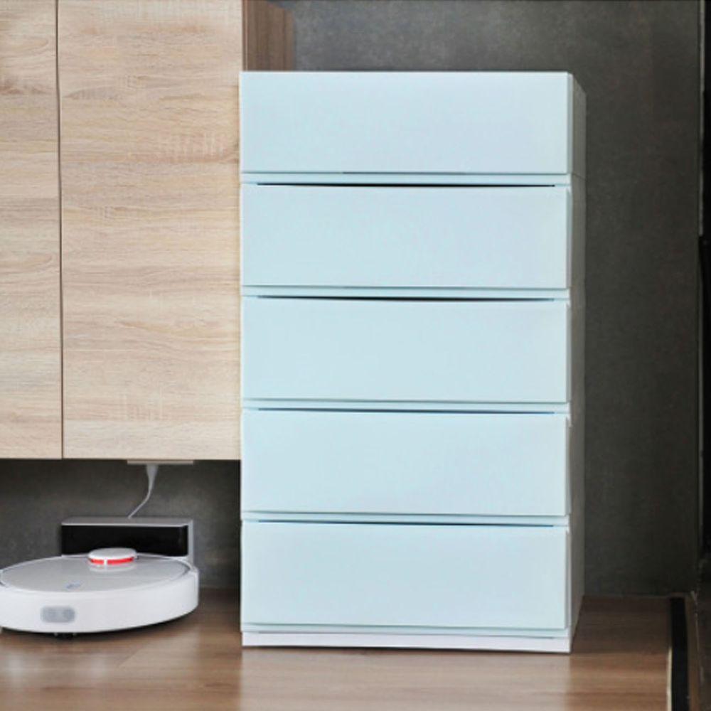 日本伸和 Shinwa - 日本製五層抽屜收納櫃-DIY組裝-藍綠色-單層32L*5層