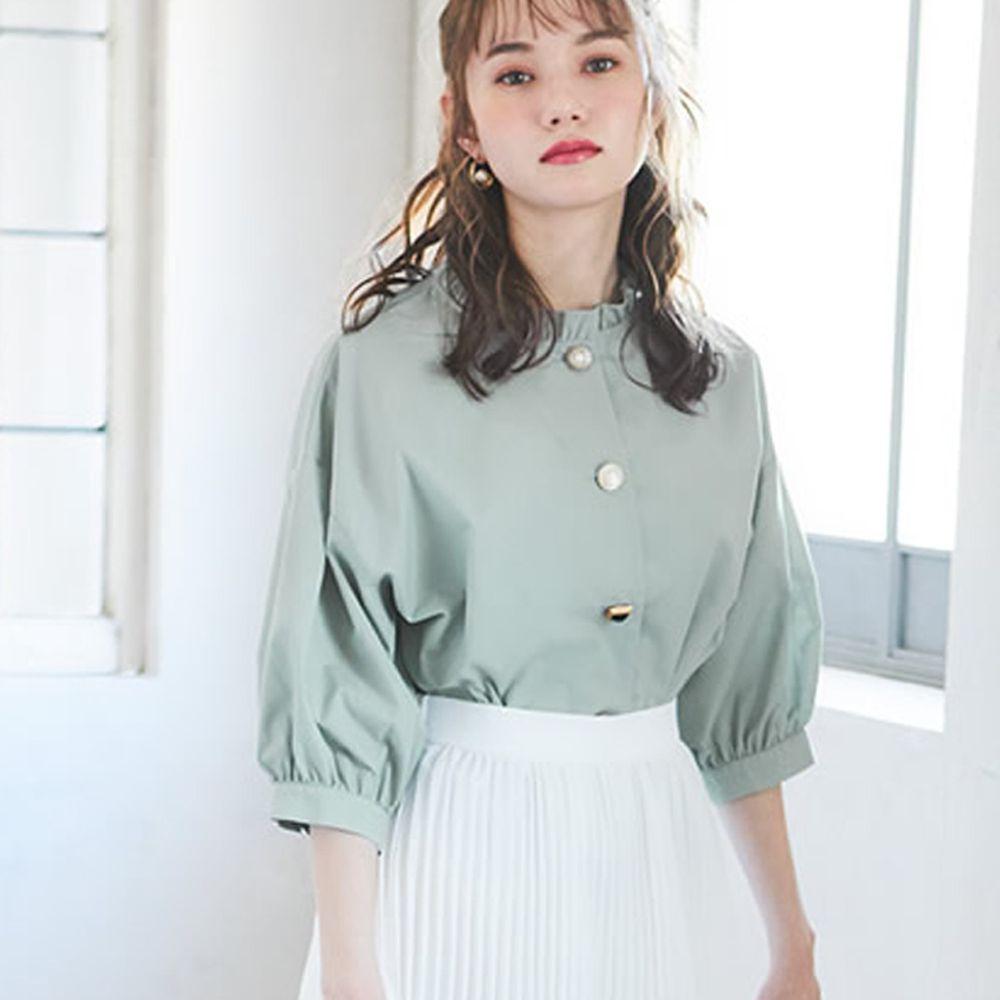 日本 GRL - 不規則釦七分袖襯衫-薄荷綠