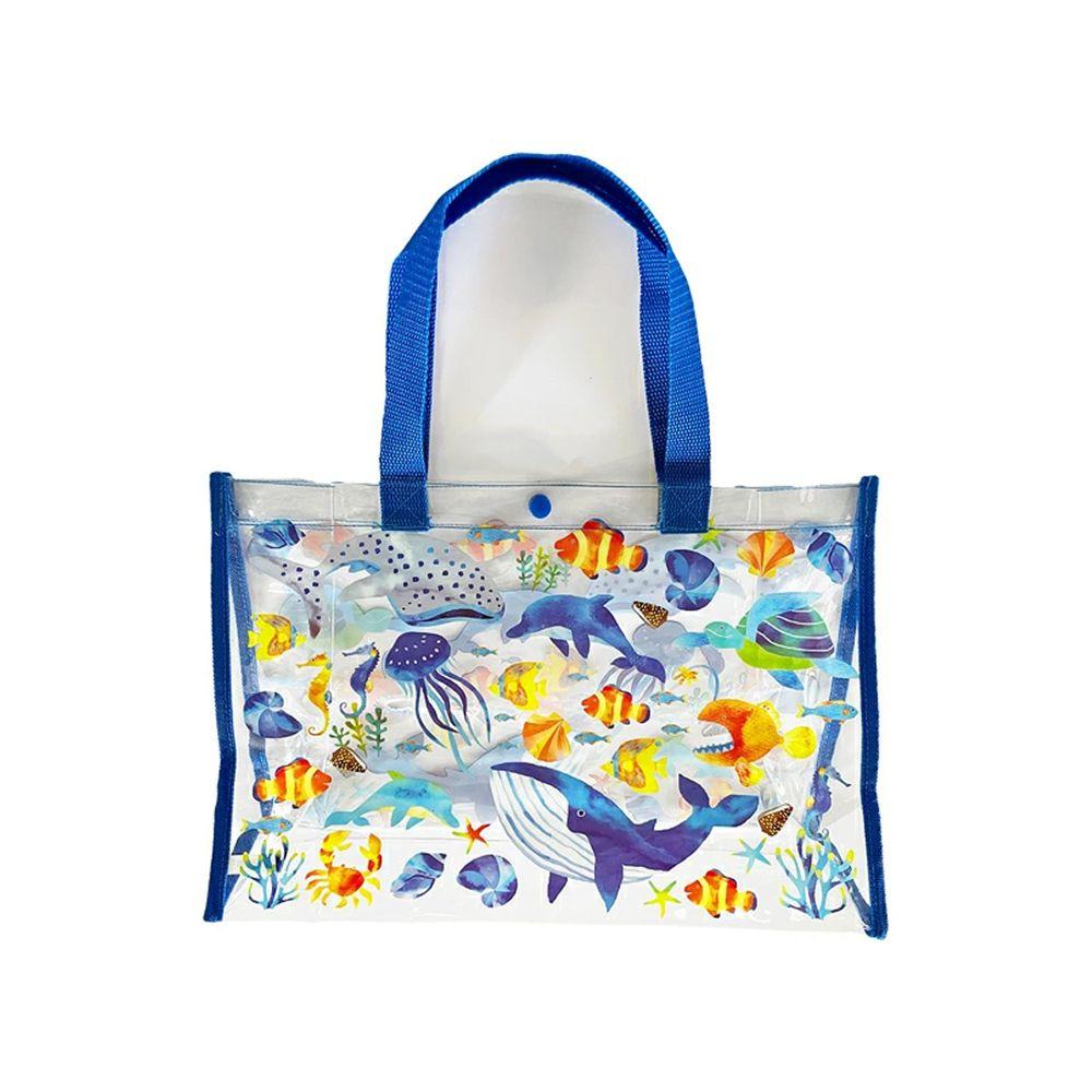 日本服飾代購 - 防水PVC游泳包(雙面圖案設計)-海底世界-藍 (25x36x13cm)