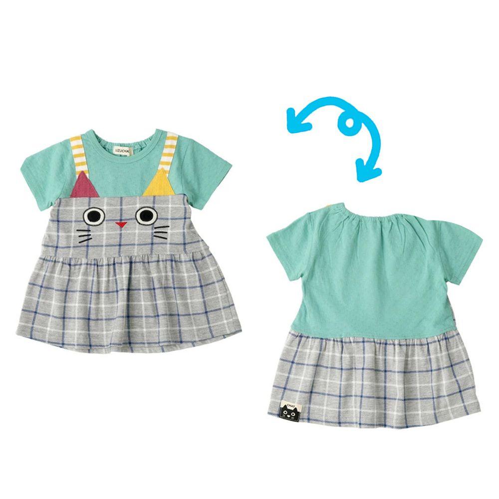 日本 ZOOLAND - 拼接短T-假兩件小貓吊帶格子裙-灰綠