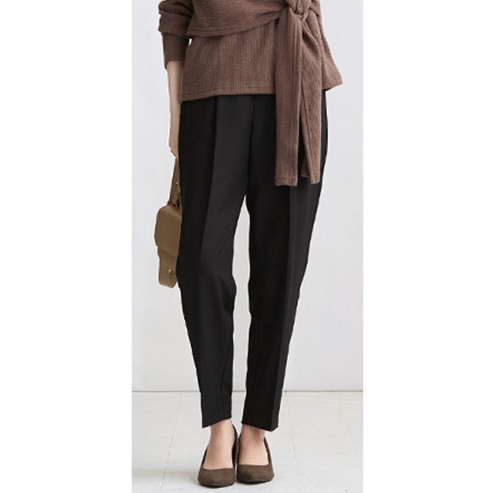 日本女裝代購 - 高腰打褶美腿西裝褲-純黑