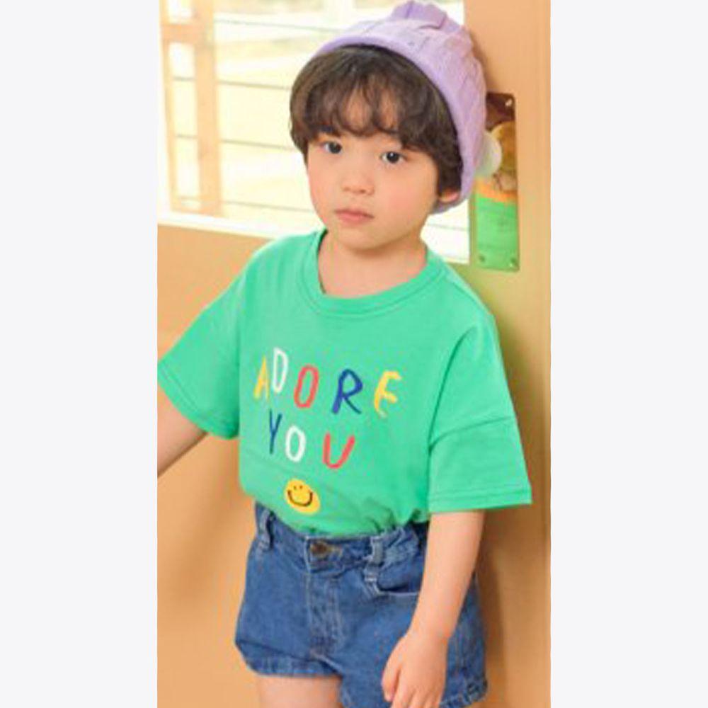 韓國 Hanab - 彩色字母笑臉純棉T-綠