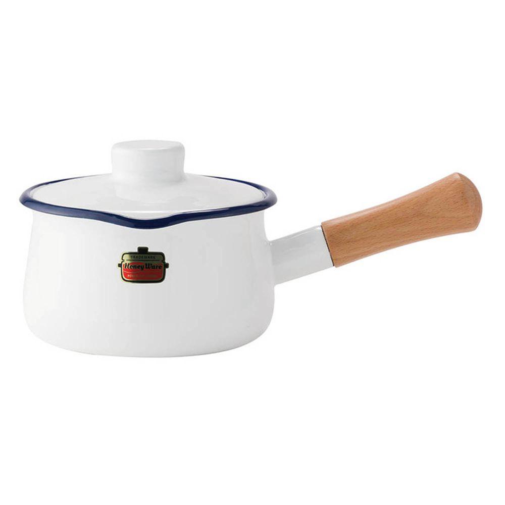FUJIHORO 富士琺瑯 - Solid 經典系列-15cm單柄附蓋琺瑯牛奶鍋-天使白-容量:1.2L 重量:0.9kg