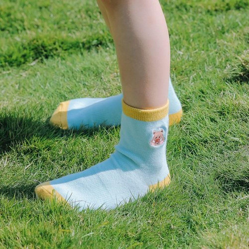 minihope美好的親子生活 - 抗菌除臭中筒襪(親子襪)-野豬-淺藍