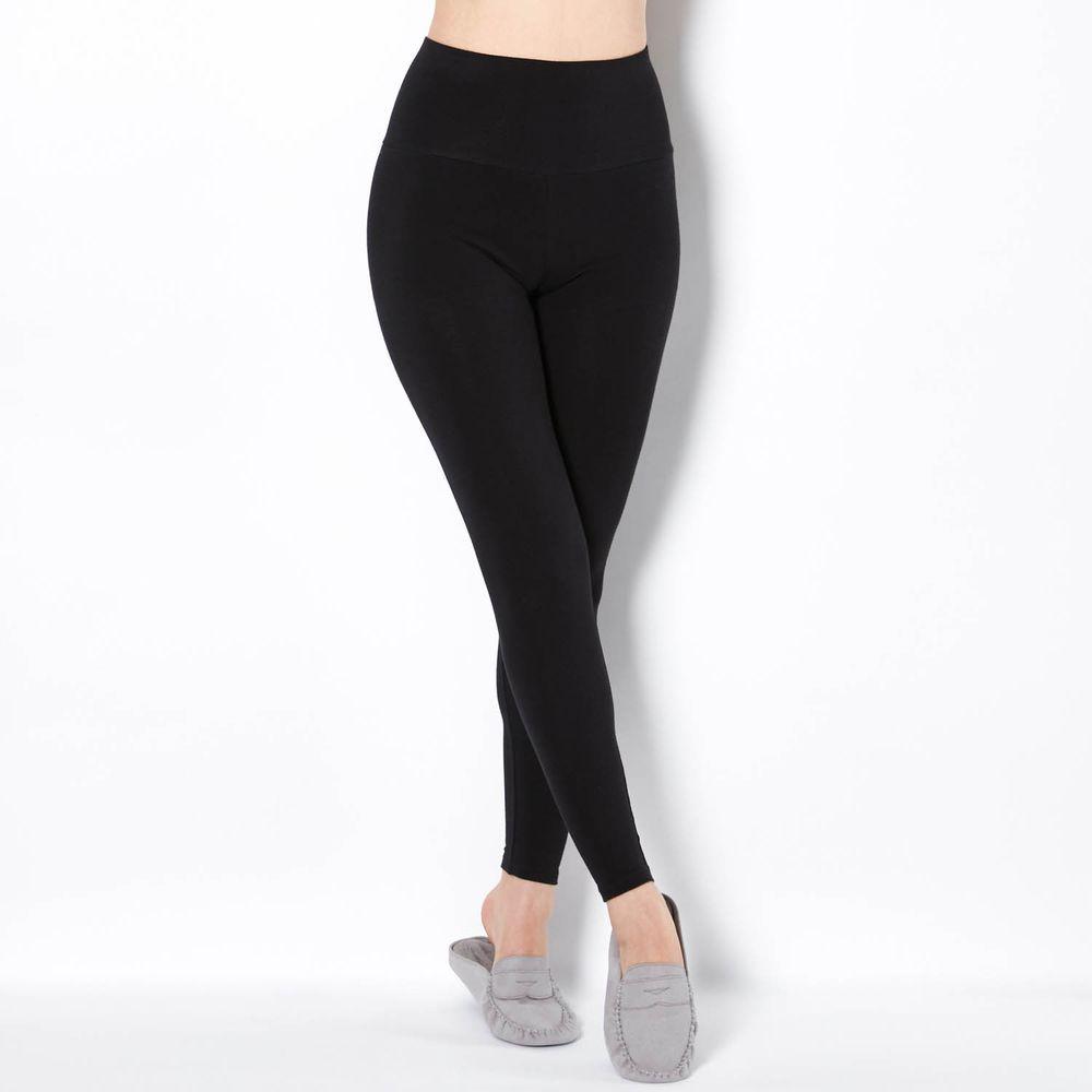 日本千趣會 - 95%純棉 (媽媽) 高腰腹卷加厚發熱褲-黑