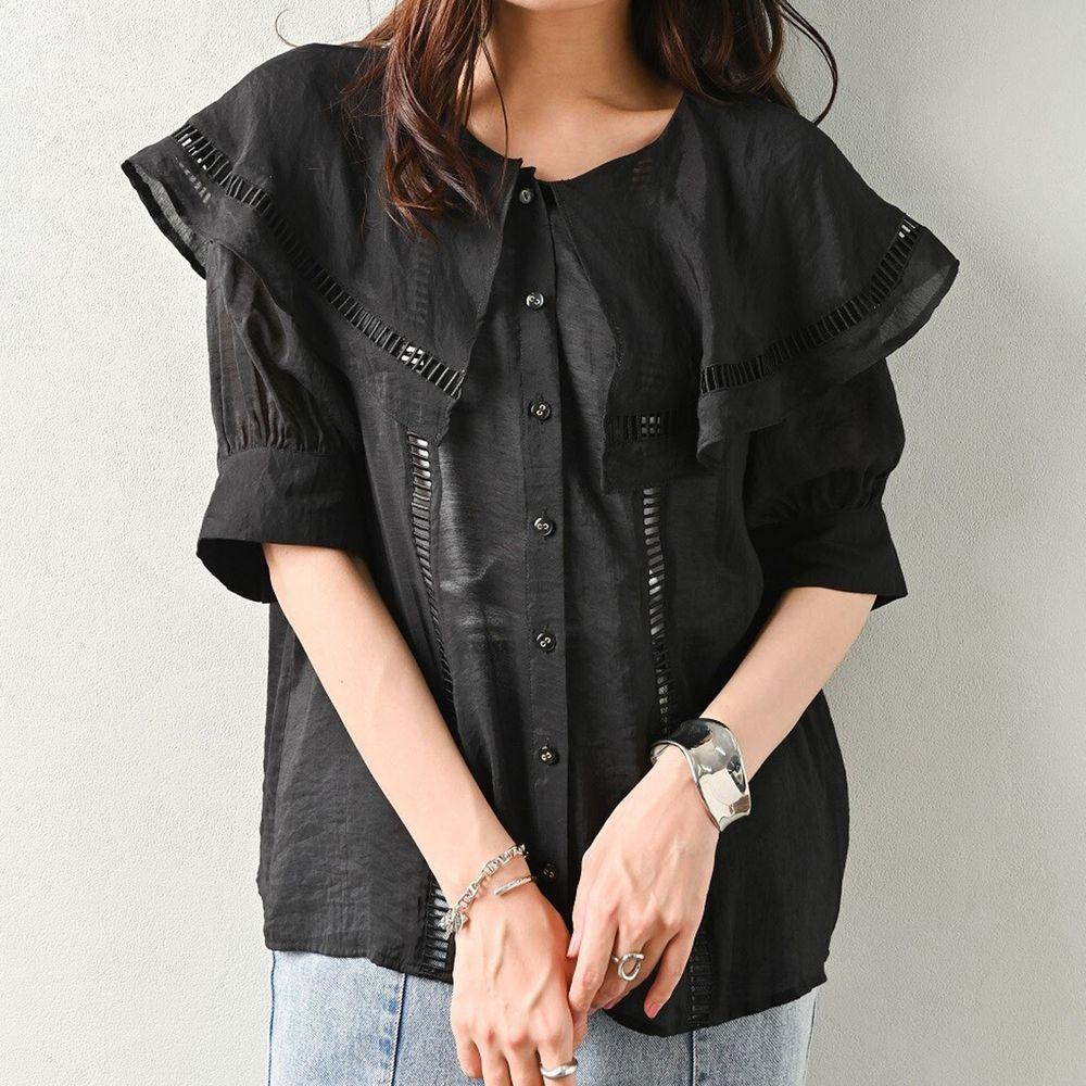 日本 ELENCARE DUE - 大荷葉鏤空領五分袖襯衫/外套-黑