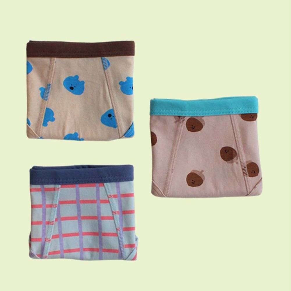 韓國 Kokacharm - 韓國製兒童包臀內褲-三件組-Forest_Boy