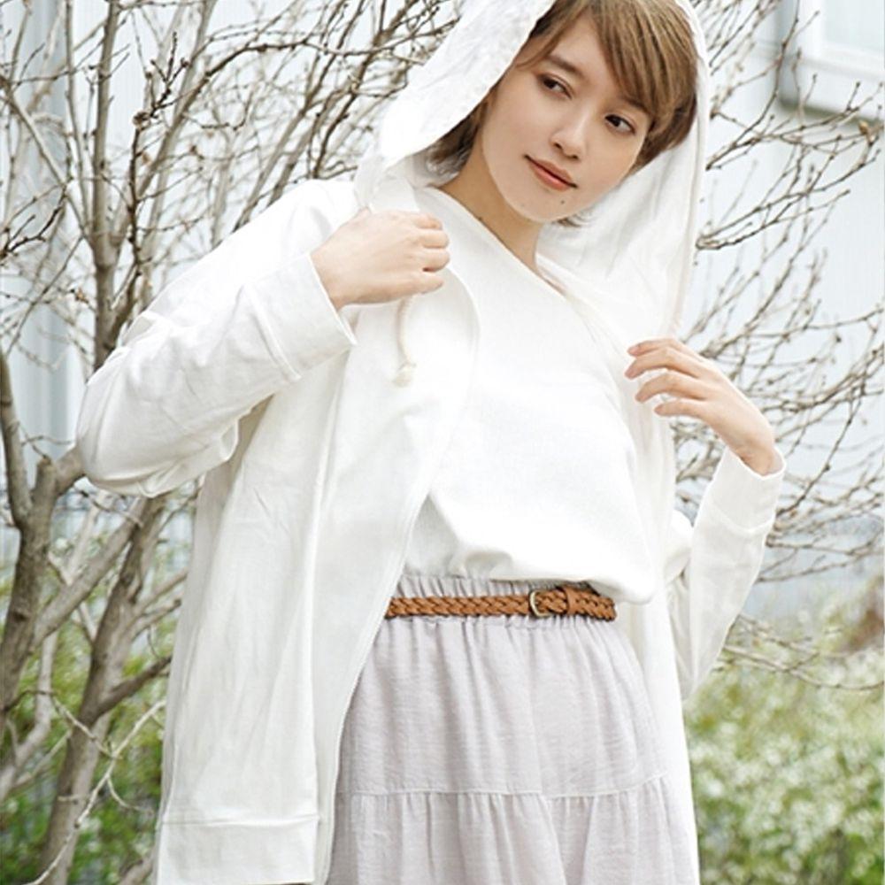 日本 zootie - 撥水X吸水速乾加工 抗透汗純棉防曬連帽外套-白