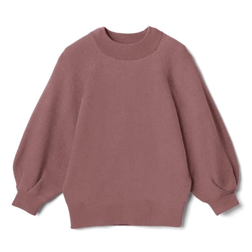 日本 GRL - 小高圓領七分袖薄款針織上衣-灰粉