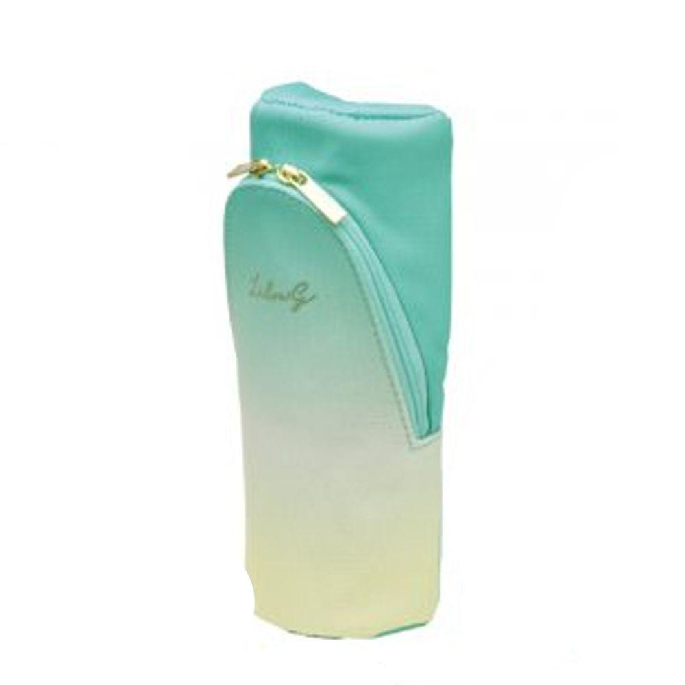 日本文具 SONIC - 可站立下翻式筆袋/化妝包(附磁鐵)-漸層限定款-薄荷-團購專案