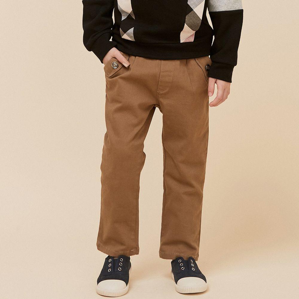 韓國 Coco Bang - 鈕釦口袋直筒褲-棕