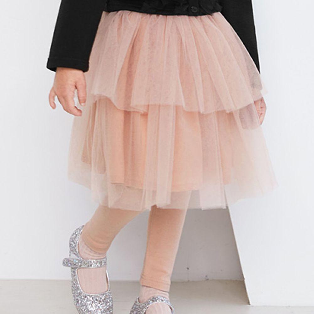 韓國 WALTON kids - 雙層網紗褲裙-粉紅