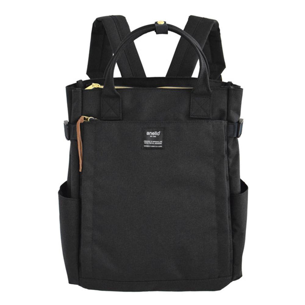 日本 Anello - 日本新款時尚牛津布後背包 10POCKET-Regular大尺寸-BK黑色