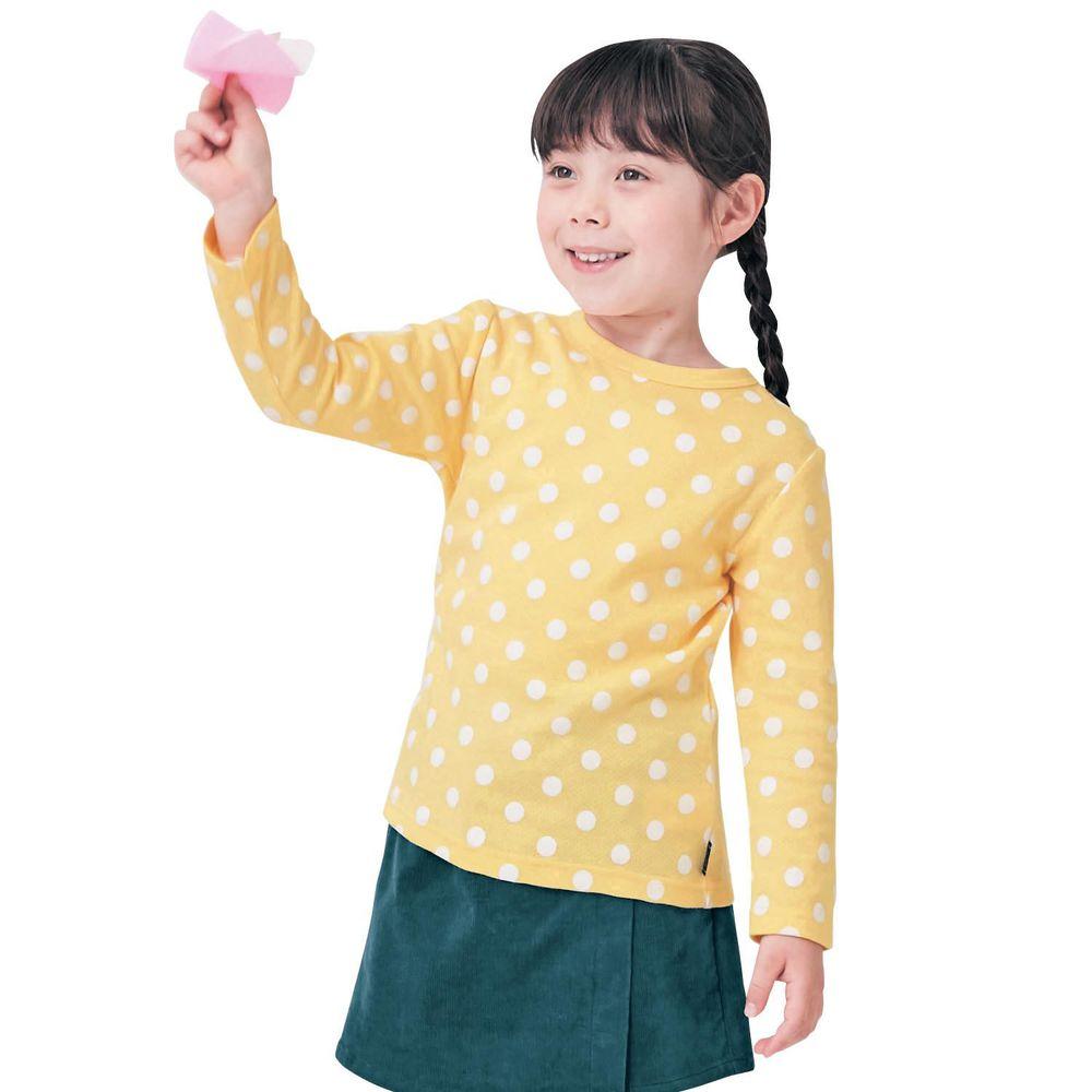 日本千趣會 - GITA 純棉輕薄舒適長T-點點-黃