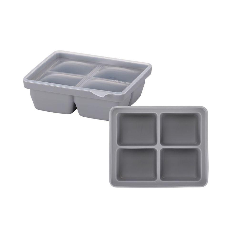 韓國 Moyuum - 白金矽膠副食品分裝盒-4格-質感灰