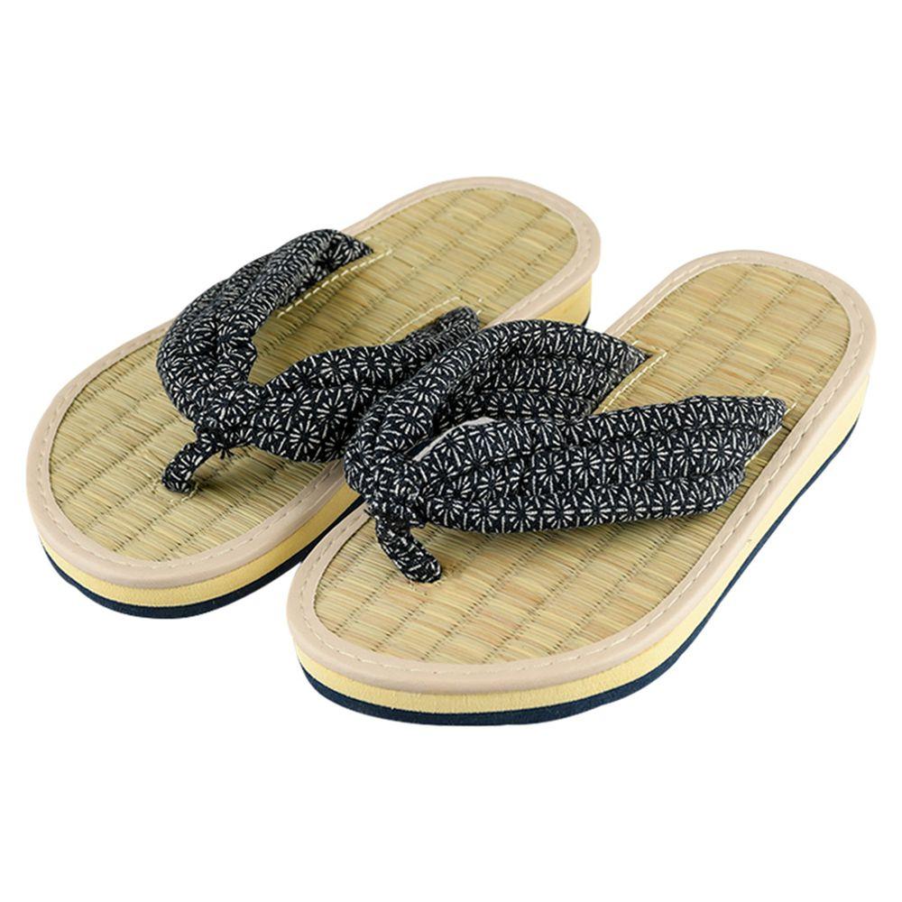 akachan honpo - 藺草夾腳拖鞋-深藍色
