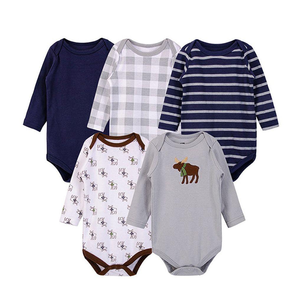 美國 Luvable Friends - 嬰幼兒100%純棉長袖包屁衣5件組-高雅麋鹿