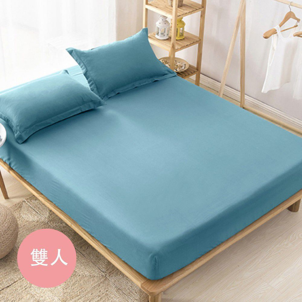 澳洲 Simple Living - 600織台灣製天絲床包枕套組-湖水綠-雙人