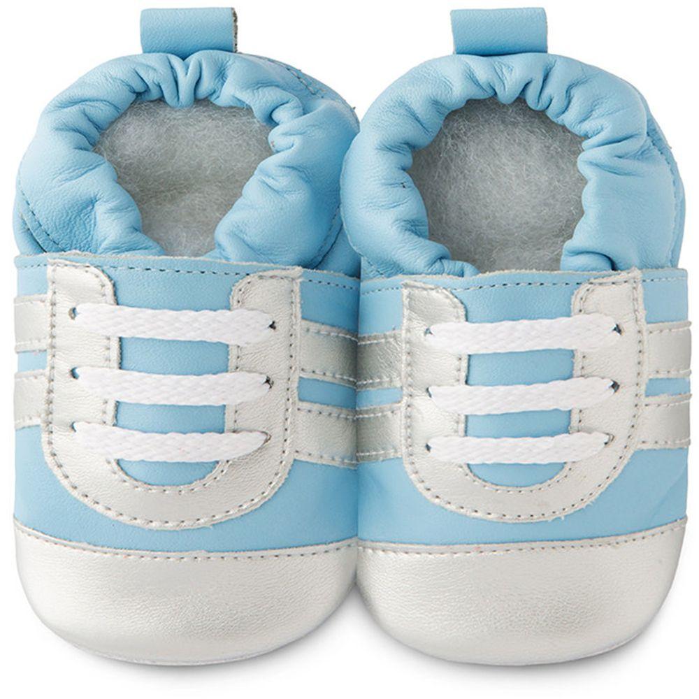 英國 shooshoos - 健康無毒真皮手工鞋/學步鞋/嬰兒鞋/室內鞋/室內保暖鞋-藍銀運動型