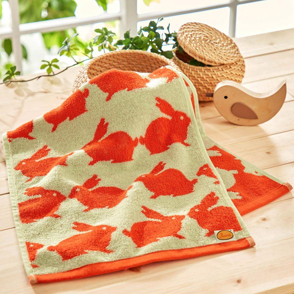 日本千趣會 - 葡萄牙製 純棉質感長毛巾-兔子-橘 (33x80cm)