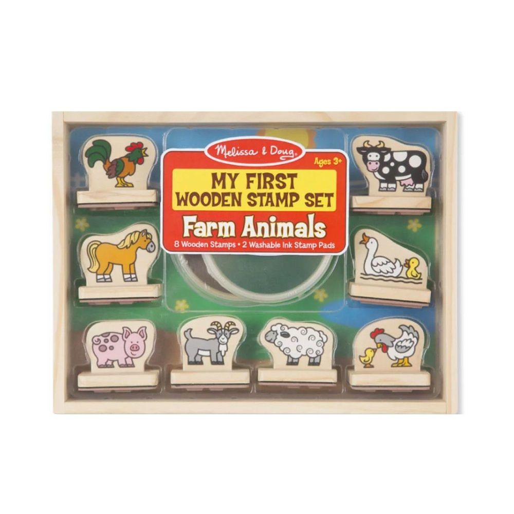 美國瑪莉莎 Melissa & Doug - MD 勞作印章-幼兒學習初階版-農場動物,10pcs