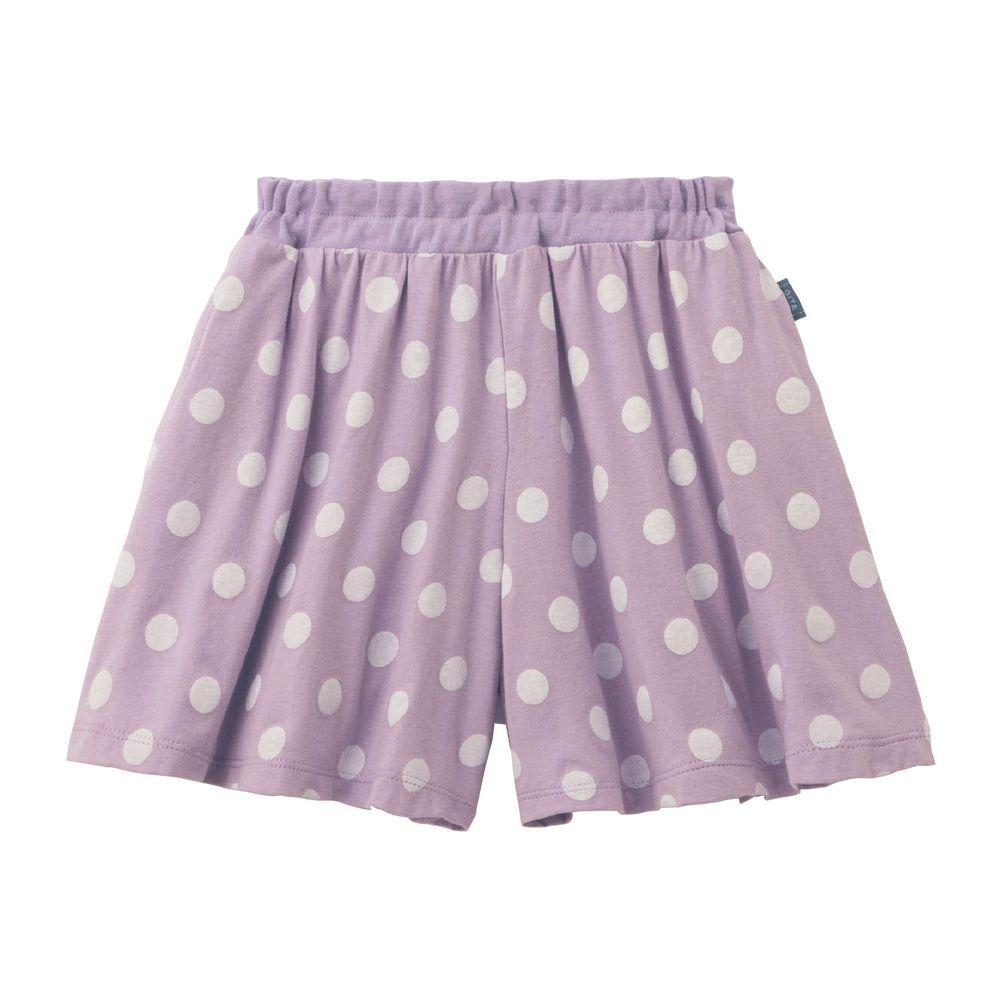 日本千趣會 - GITA 純棉輕薄舒適傘狀短褲裙-點點-紫