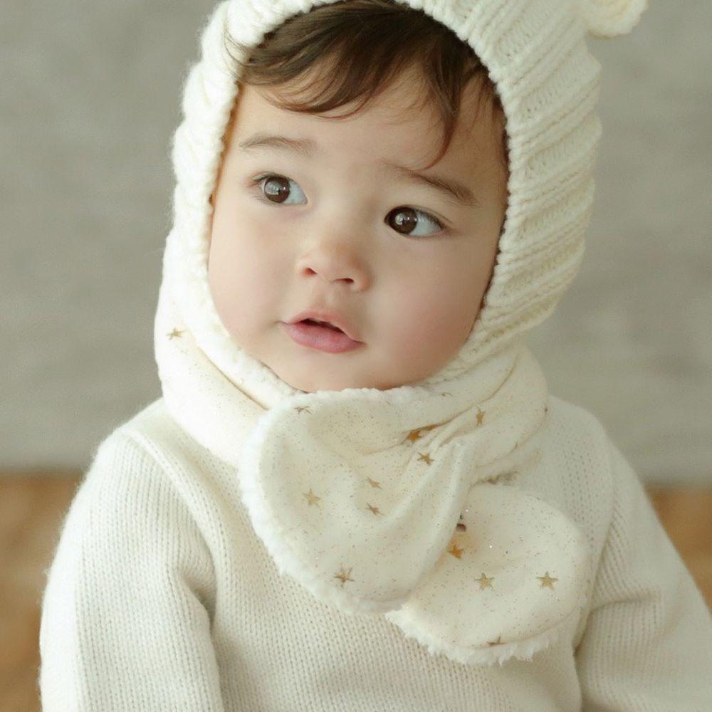 韓國 Happy Prince - 厚刷毛圍巾-繁星-象牙白 (3-48m)