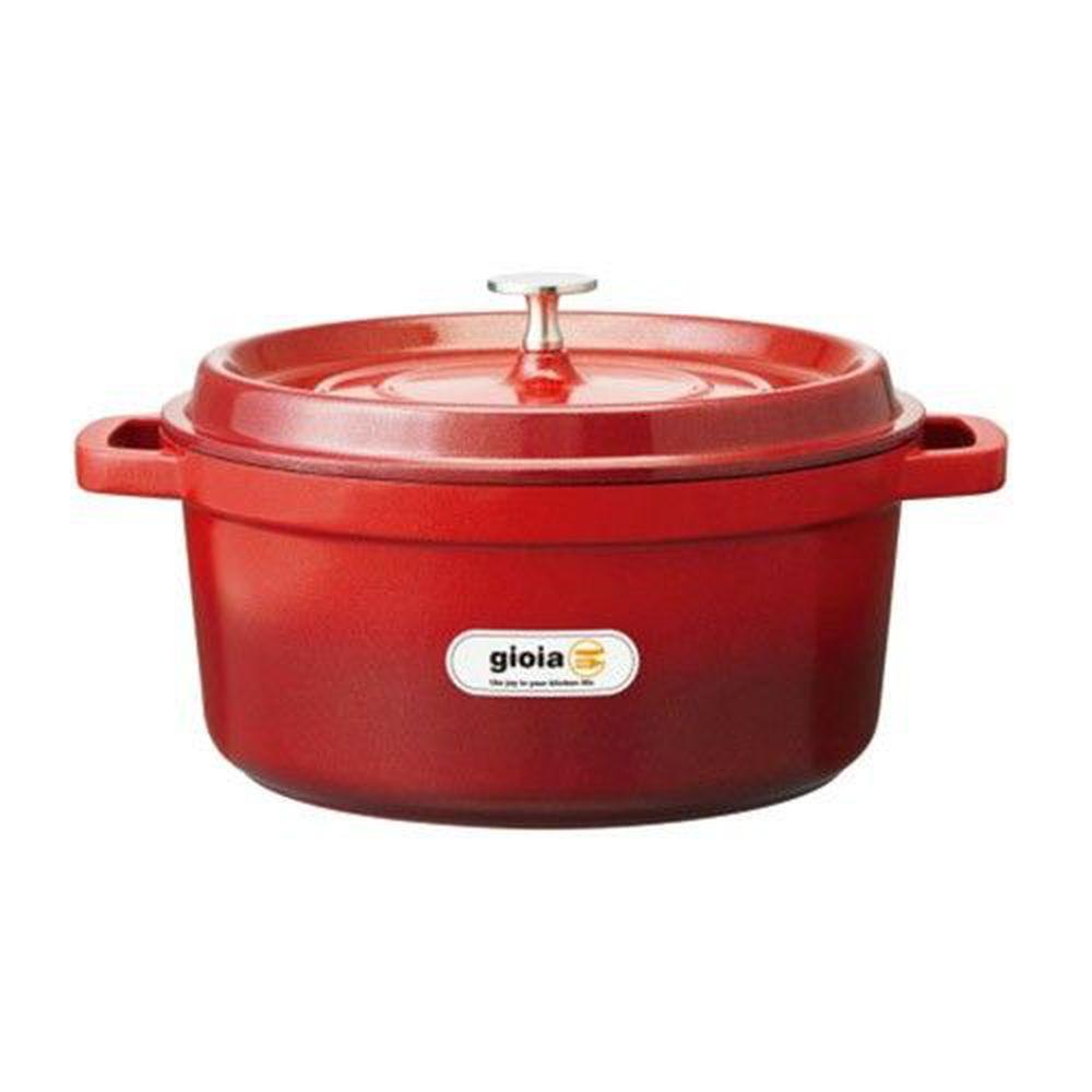 日本Gioia - 輕量琺瑯鋁鑄鍋 - 圓型-24cm-漸層紅