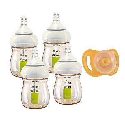 Utouch Ultra 寬口防脹氣 PPSU 奶瓶-附奶嘴-氣囊安撫奶嘴-拇指型 x 奶瓶組 (1 號慢流速-圓孔 [0個月新生兒])-160mLx4+氣囊安撫奶嘴-拇指型-黃色 [6個月以上]x1