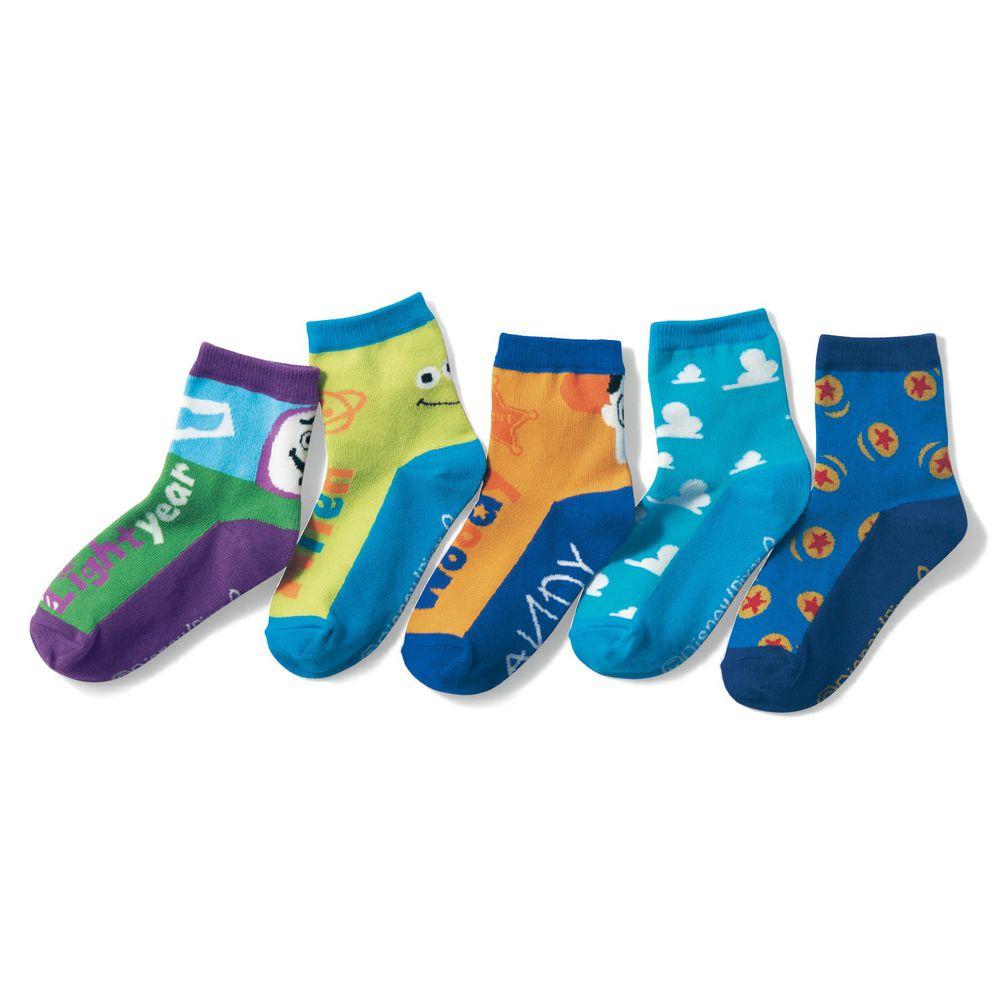 日本千趣會 - 迪尼印花兒童短襪五件組-玩具總動員