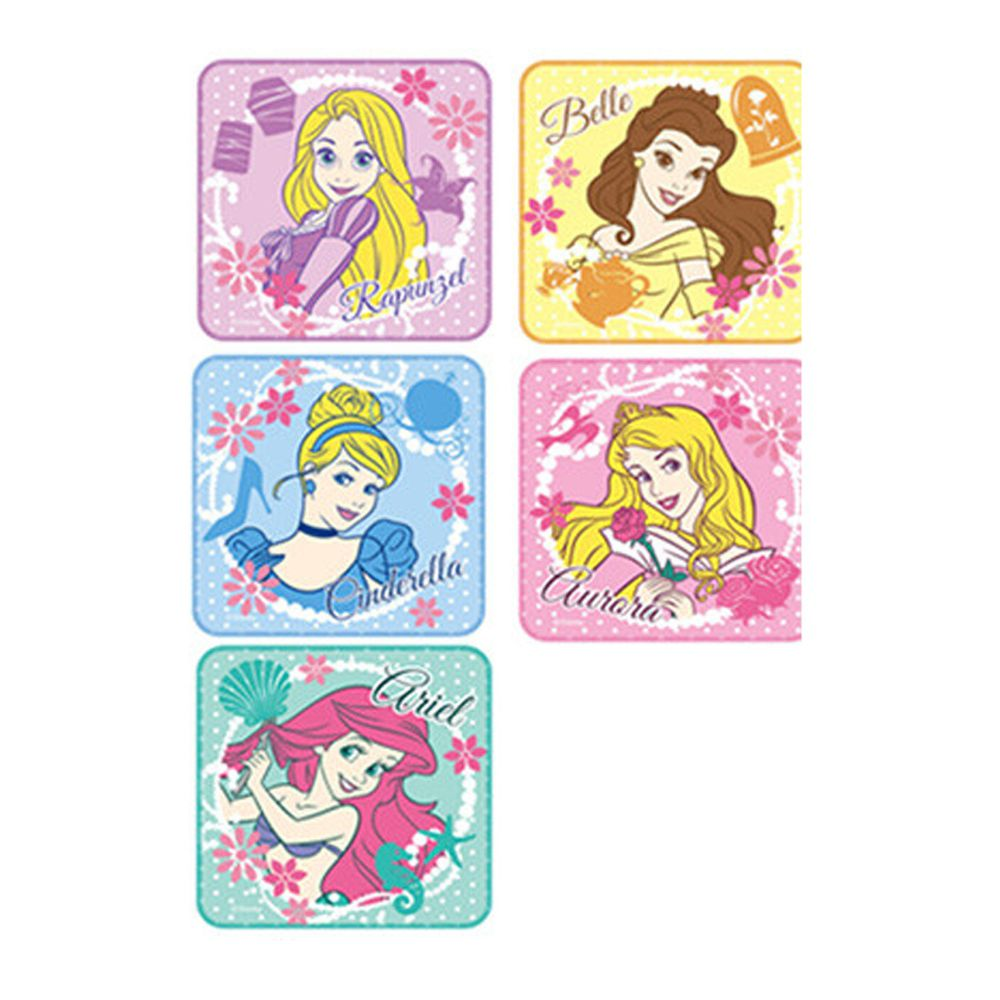 日本代購 - 卡通方形小手帕五件組-公主 (15x15cm)
