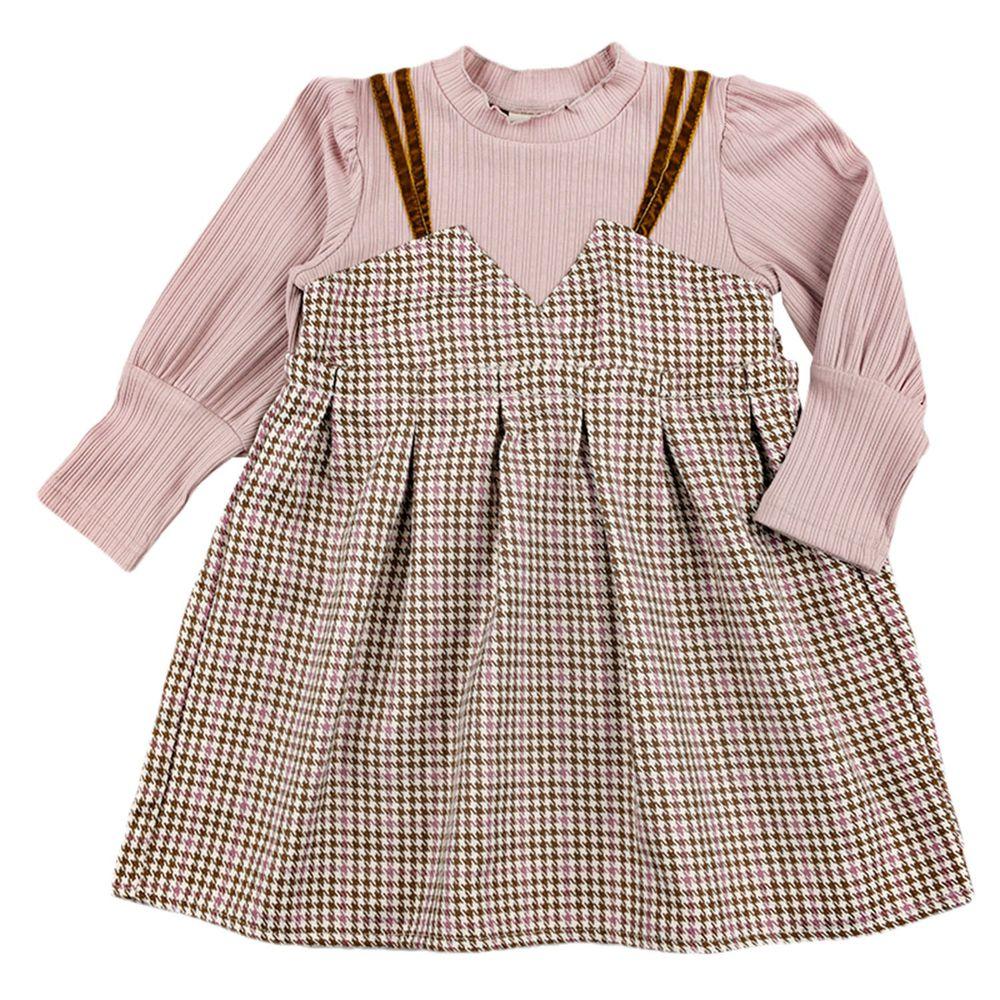 akachan honpo - 假兩件洋裝-粉紅色