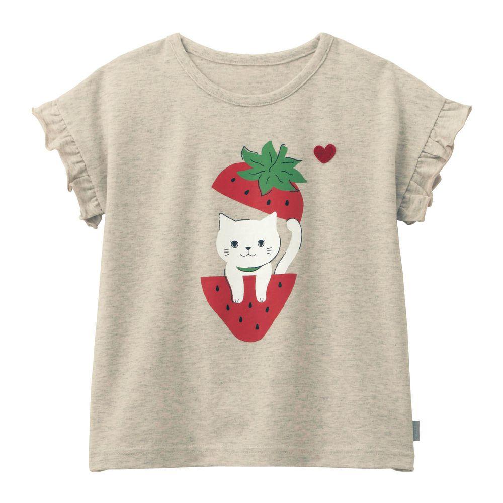 日本千趣會 - GITA 天竺棉印花短T-草莓小貓-燕麥