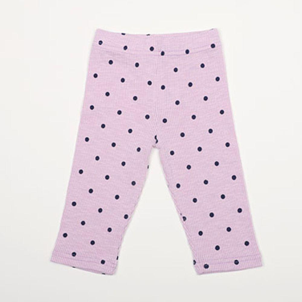 韓國 Rainbowkids - 純棉點點羅紋7分內搭褲-淺紫