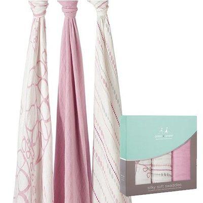 竹纖維包巾(3入)-粉紅枝芽