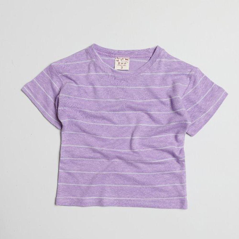 韓國製 - 棉麻簡約條紋T-香檳紫
