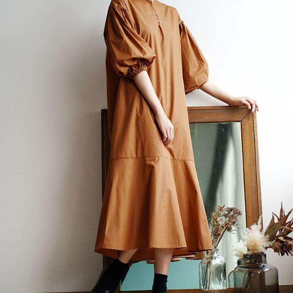 日本 zootie - 微光澤質感澎澎七分袖洋裝-橘