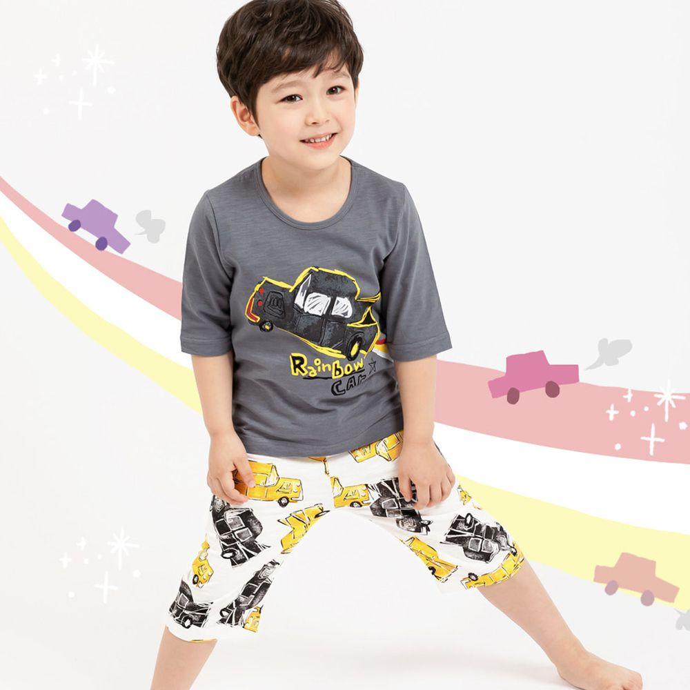 韓國 Mellisse - 韓製極致細柔7分袖家居服(無螢光棉)-星空下的灰車車