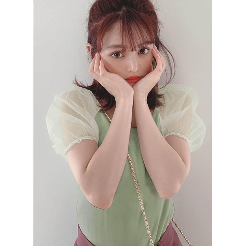日本 GRL - 大U領薄紗澎袖拼接短袖上衣-莫蘭迪綠