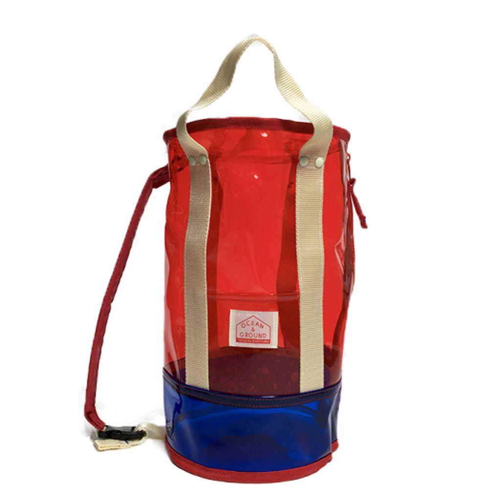 日本 OCEAN&GROUND - 透明PVC防水圓筒包(側背/手提)-紅 (φ20x35cm)
