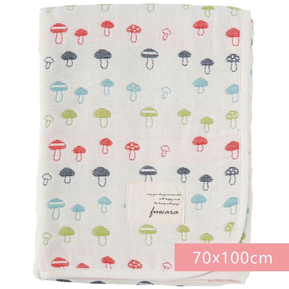 日本 Fuwara - 日本製三河木棉六重紗蓋毯-彩色蘑菇 (70x100cm)